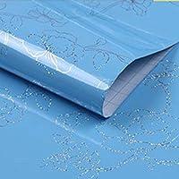 LZYMLG 家具改装ステッカーキッチンオイルウォールステッカーホームワードローブ壁画キャビネットテーブル防水壁紙自己接着剤 空色