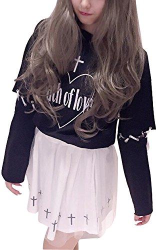(TRマーケット) チュール スカート 半袖 長袖 2WAY トップス セット 白 黒 (黒トップス×白スカート)