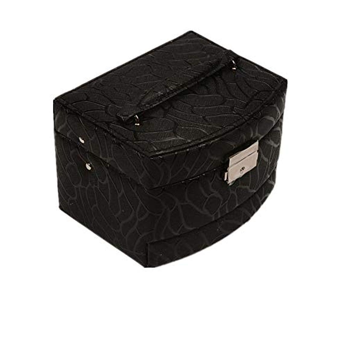 化粧オーガナイザーバッグ 純粋な色のポータブル多層化粧品美容メイクアップ化粧ケースロックと化粧品ミラー 化粧品ケース