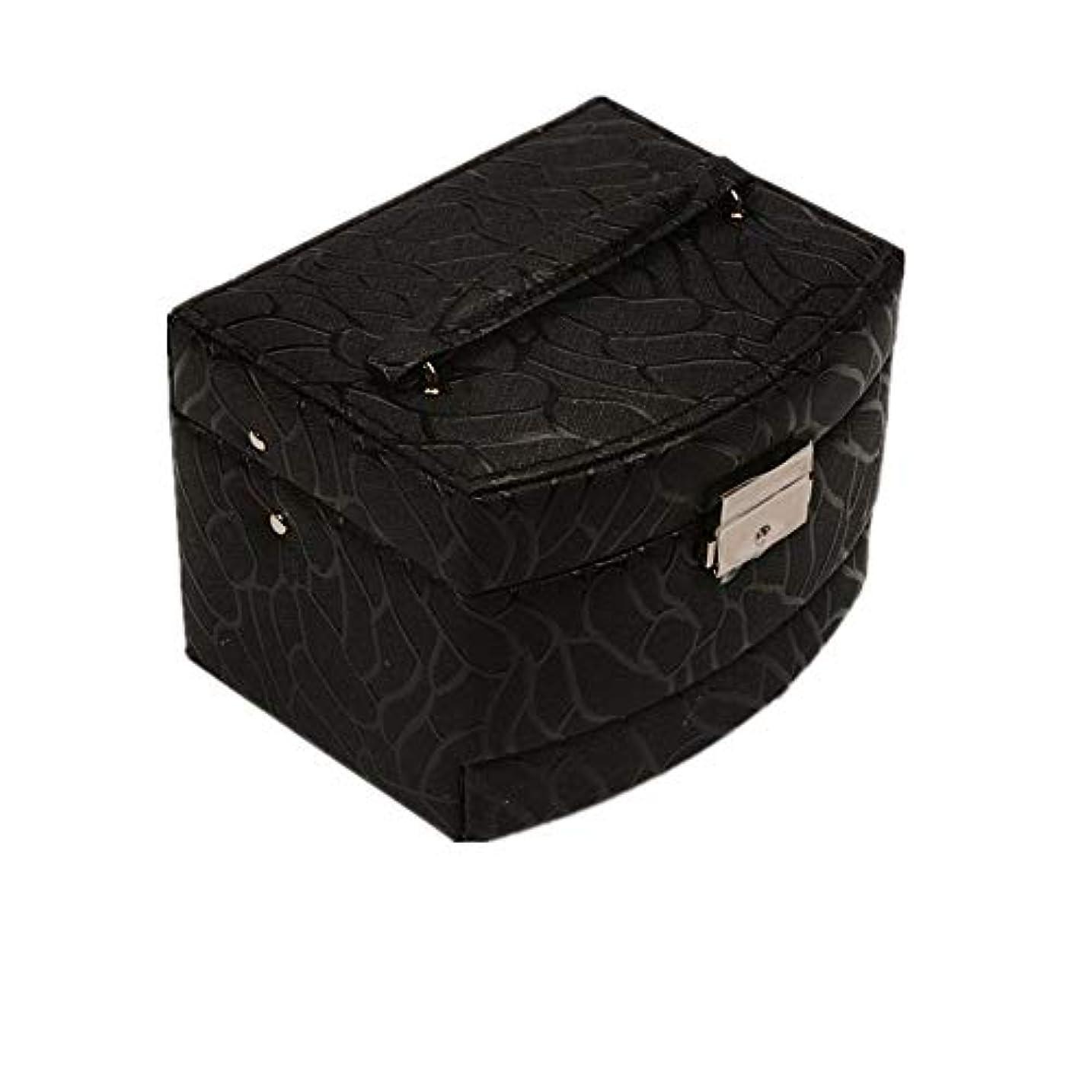 パーク勘違いする降雨化粧オーガナイザーバッグ 純粋な色のポータブル多層化粧品美容メイクアップ化粧ケースロックと化粧品ミラー 化粧品ケース