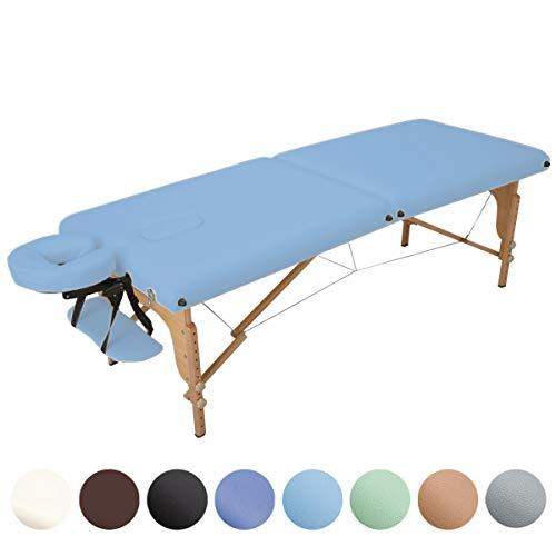 折りたたみ マッサージベッド V-004 (木製・有孔) ライトブルー 長さ185×幅70×高さ52~82cm [ 折りたたみベッド 整体ベッド ポータブルベッド マッサージ台 施術ベッド 施術台 エステベッド マッサージ 整体 ベッド ]
