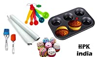 HPK MICROWAVE OVEN SAFE CAKE MUFFIN CUPCAKE 6 CUPS BAKING TRAY + 24 MIX DESIGN BAKING CUPS + 10 METER BUTTER PARCHMENT SHEET ROLL + 5 MEASURING SPOONS + 1 SILICON BRUSH + 1 SPATULA