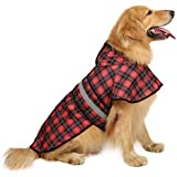 HDE Dog Raincoat Hooded Slicker Poncho for Small to X-Large Dogs and Puppies (Plaid, Large)