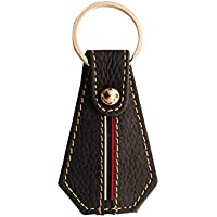 New Key Chain Key Ring Leather Strip Design Red and White Key Fob - Black with White Stitching and Silver Mechanism
