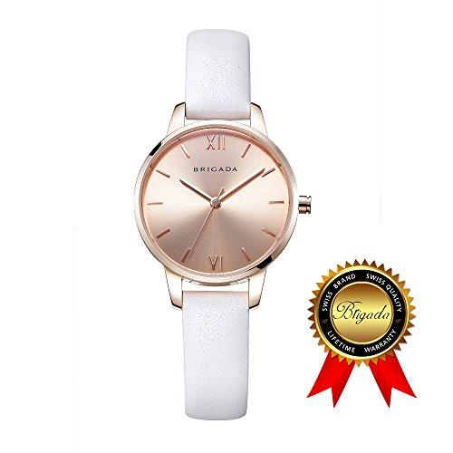 BRIGADA レディース 腕時計 ホワイト ベルト 大人 クオーツ ビジネス レジャー 時計 [並行輸入品]