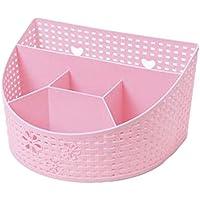 多機能コンパートメントホルダーステーショナリー化粧品収納デスクオーガナイザー、ピンク