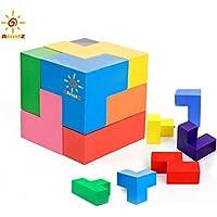 Toddlersクレヨン7色キューブクレヨンSticksスタッカブルToys for Kids、洗濯可能JigsawクレヨンToys for Kids幼児、、子、安全、非毒性。