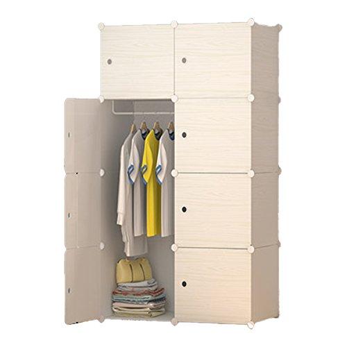 LifeDIY 収納ボックス 扉付き 収納棚 衣類収納ラック 組み立て式 ダンス おしゃれ 大容量 白い木目 8