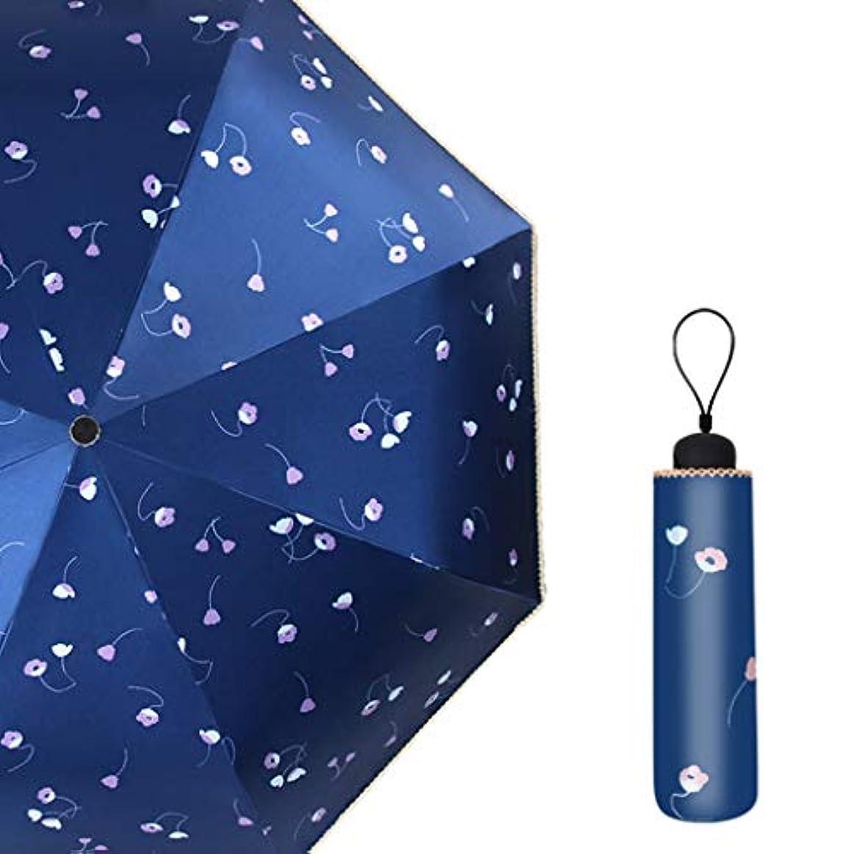 旋律的共和国ロータリーコンパクト速乾性トラベルパラソル、折りたたみ式パラソル、8リブ3つ折り、強化防風フレーム、スリップ防止ハンドル、折りたたみ式キャリー (Color : Blue)