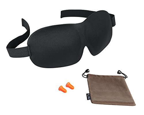 PLEMO 立体型睡眠アイマスク 耳栓 男女兼用 100%遮光 軽量・究極の柔らかさ シルク質感 睡眠、旅行に最適 耳栓と収納袋付きセット(フリーサイズ)