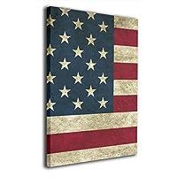 アメリカ 国旗 星条旗 レトロ風 背景絵画 風景画 キャンバス絵画 部屋飾り お祝いやプレゼントに 絵画 軽くて取り付けやすい (20x30cm)