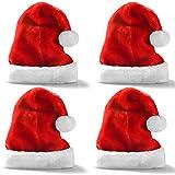 プレミアムサンタの帽子 (4個パック) フラシ天の赤いベルベットのクリスマスハット 白いカフス