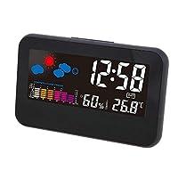 デジタル目覚まし時計、スヌーズ天気予報付き快適インジケータ音声制御温度湿度カレンダー表示、寝室や旅行に最適