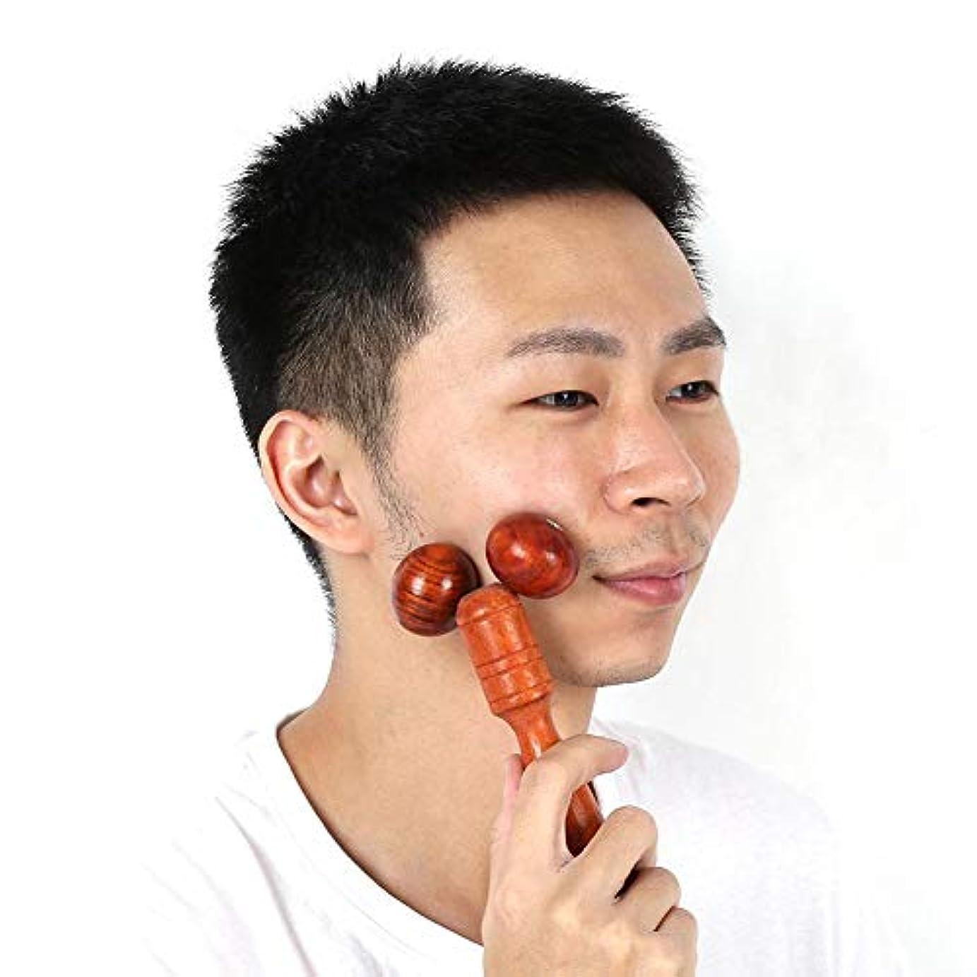 マナー息子電池顔手足頭首背中腰用マホガニーレッドウッドローラーマッサージャー