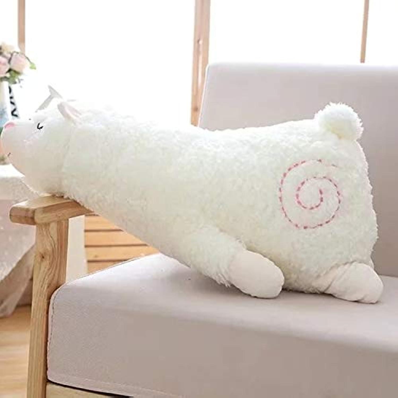 JEWH 日本のアルパカソ ぬいぐるみ - ぬいぐるみ Lying Alpaca Toys 人形 - ソフトアニマルトイ かわいいギフト 子供用 かわいい枕 ギフト おもちゃ ( 45 cm ) ( ホワイト )