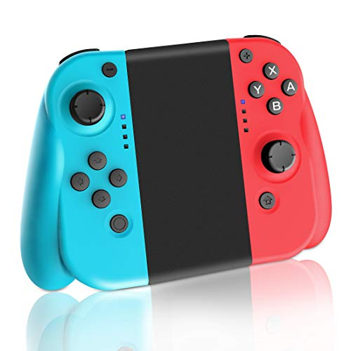 Lrego Nintendo Switch コントローラー joy-conの代用品 グリップ付き/HD振動・ジャイロ搭載 (R)レッド/(L)ブルー 日本語説明書付き