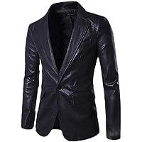 Mens Fashion Faux Leather Slim Fit One Button Blazer Jacket Coat