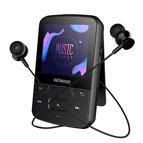 Wiwoo 16GB Bluetooth mp3プレーヤー クリップ 運動音楽プレーヤー イヤホン付き ラジオ 録音 写真 ランニングMP3プレイヤー マイクロSDカード最大128GBに対応
