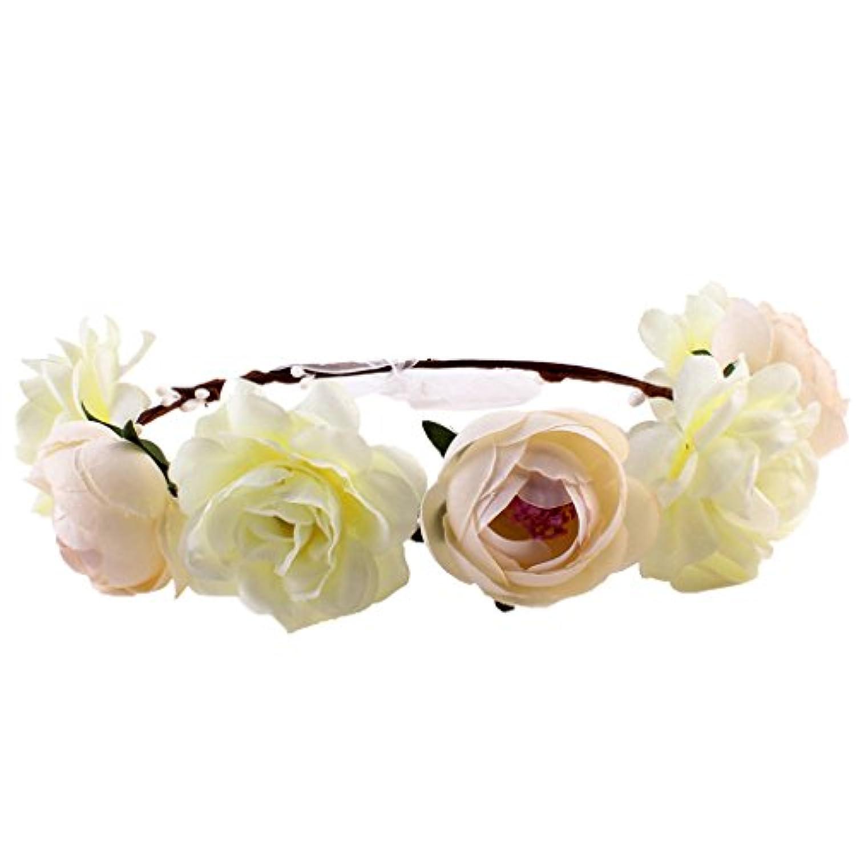 Lovoski 女性 花嫁 ボヘミア ビーチ 花輪 フラワー ヘアバンド ヘッドバンド 髪飾り 全6色