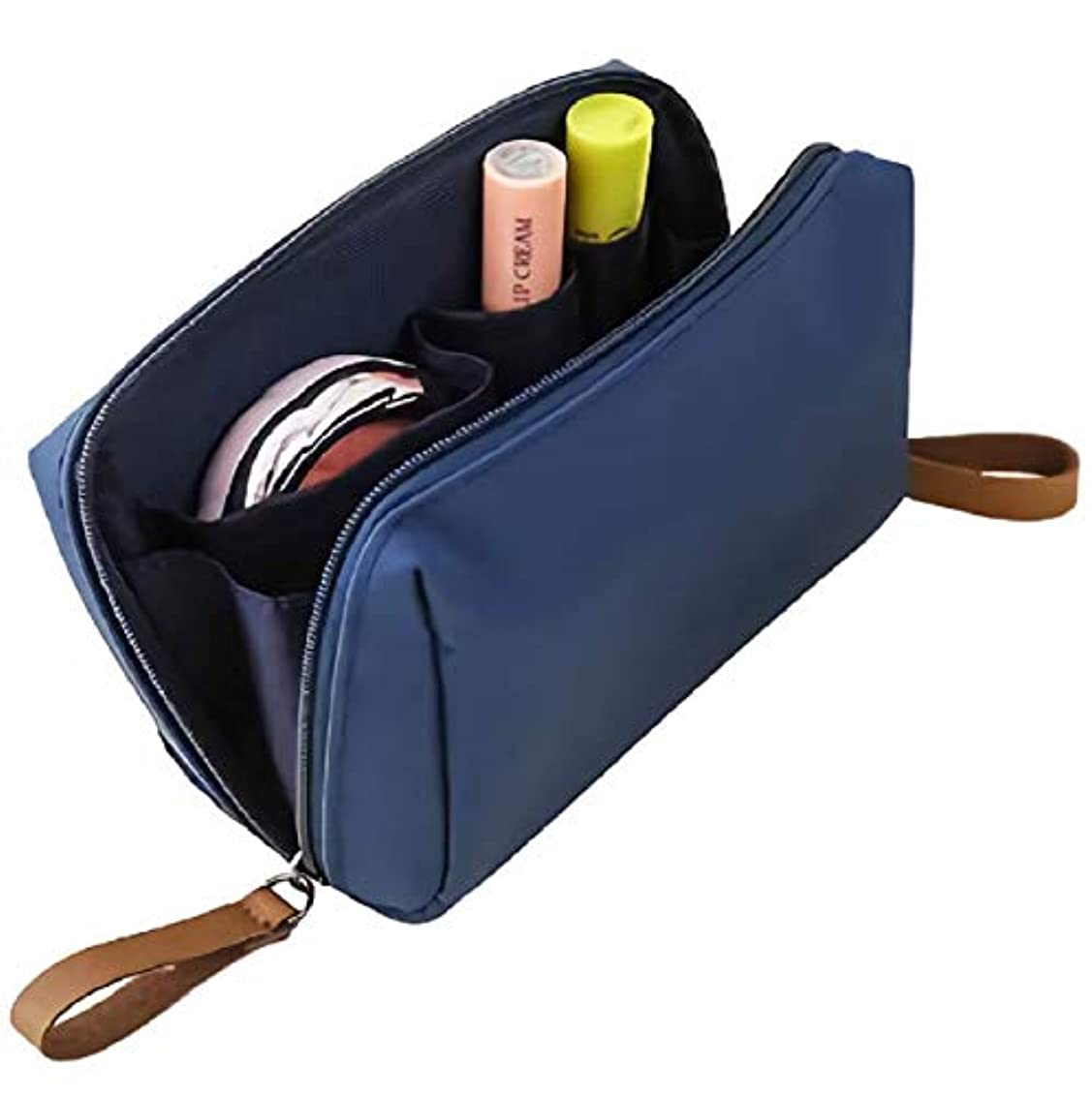 真っ逆さまテレックス出血[ウレギッシュ] 化粧ポーチ コンパクト メイクポーチ 化粧品 化粧道具 収納 バッグ (ネイビー)