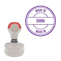Made In Round Office Bold Pre-Inked Stamp, Purple Ink Included
