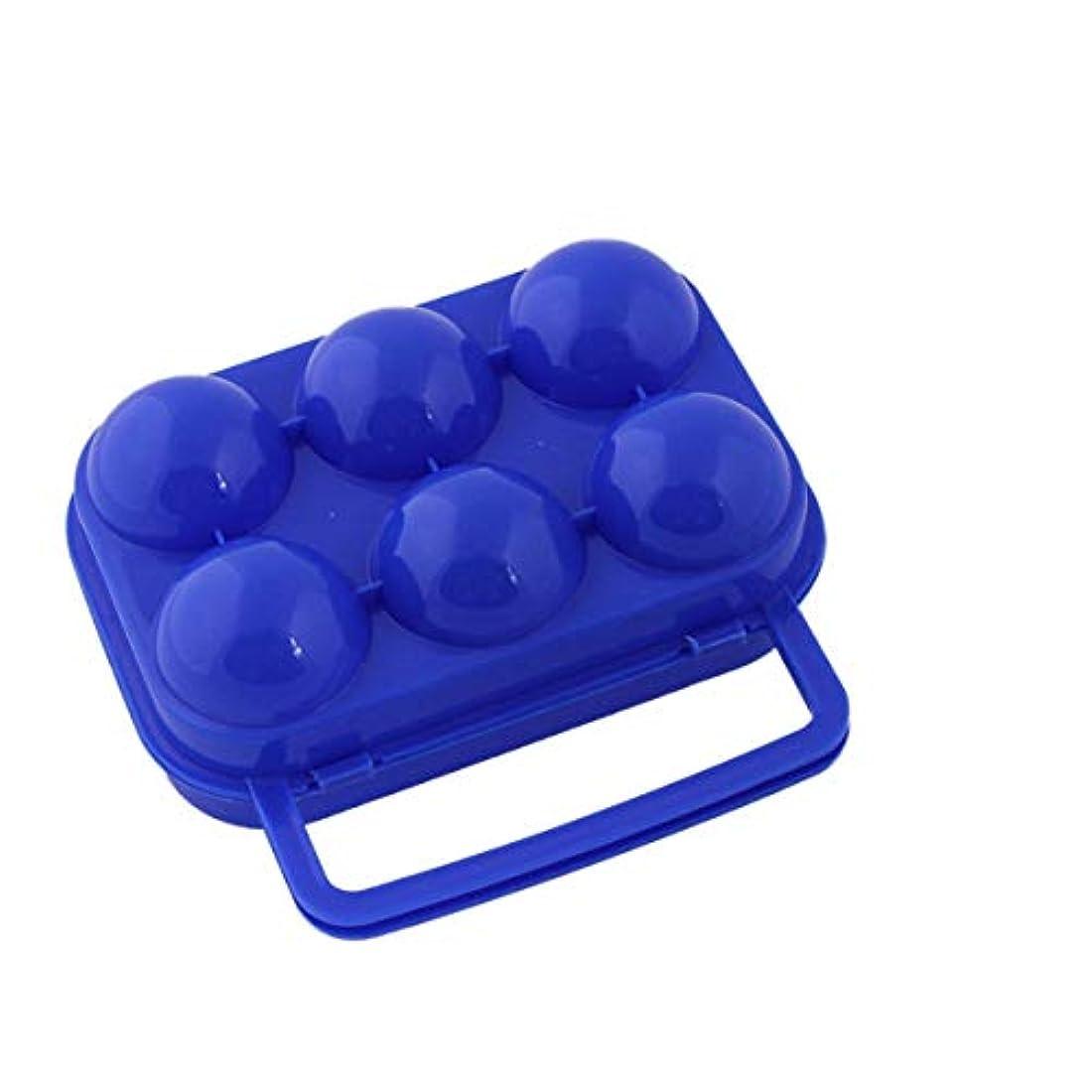 素朴な痛み後6グリッドエッグホルダーボックスキッチン収納ボックスポータブルエッグコンテナーフレッシュエッグキャリアケースハイキングアウトドアキャンプ用-ブルー