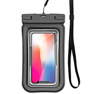 ロベンズナオミ 防水ケース スマホ用 フローティング構造 ストラップ付き IP68防水防塵 指紋認証 iPhone/Android対応 完全防水ポーチ (ブラック)