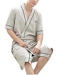 Tootess メンズ織りカジュアルホーム居心地の良いバスローブソフトスリープドレスナイトガウン