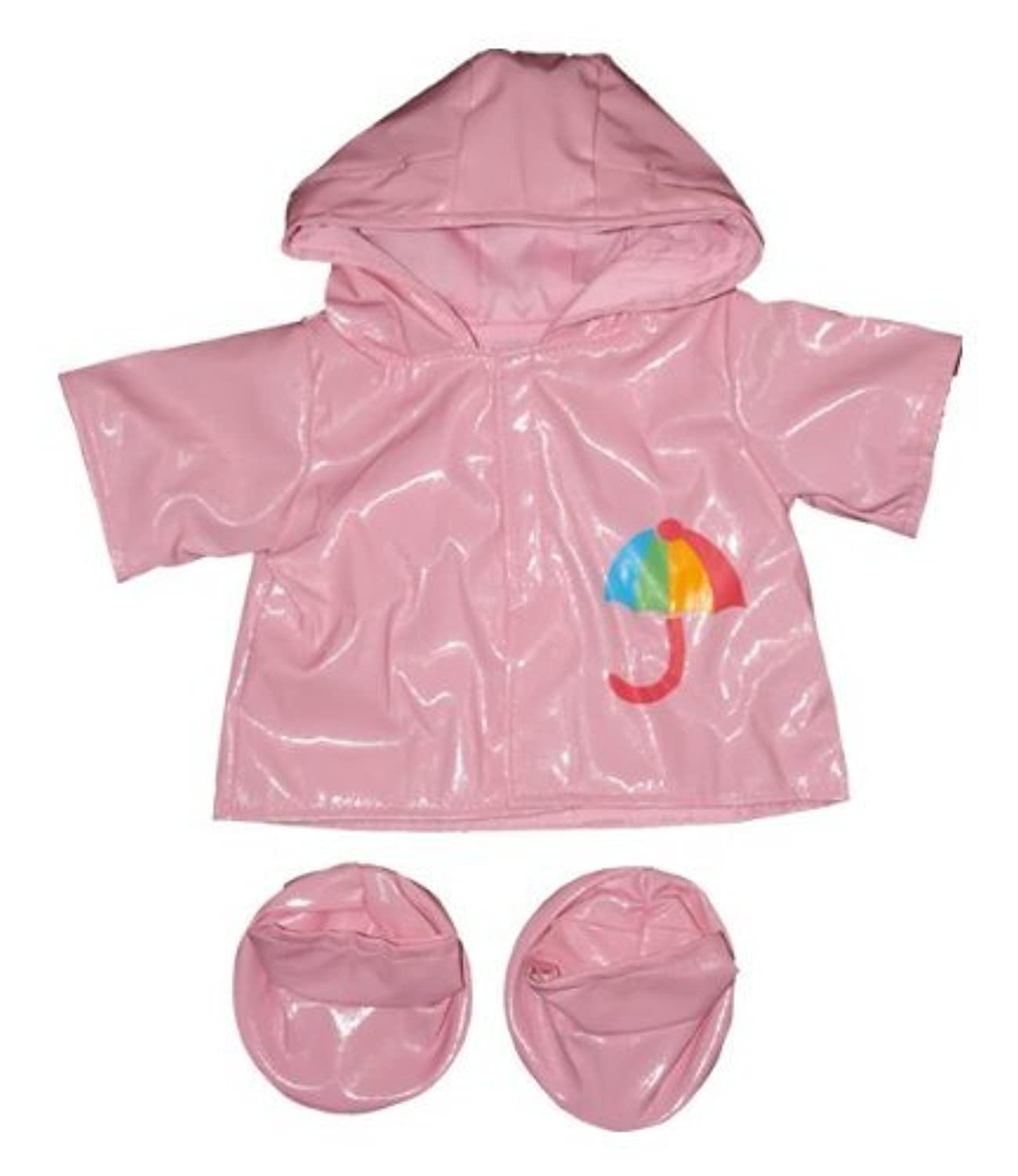 Pink Raincoat w/Boots Outfit Teddy Bear Clothes Fits Most 14 - 18 Build-A-Bear, Vermont Teddy Bears, and Make Your Own Stuffed Animals by Stuffems Toy Shop