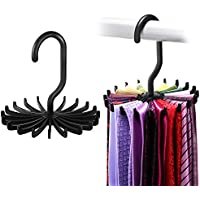 (Black) - 2 Pack Ipow 360 Degree Rotating Twirl Tie Rack Adjustable Tie Belt Scarf Hanger Holder Hook Ties Scarf for Closet Organiser Storage (12cm )