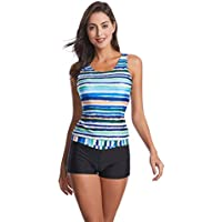 Wellwits Women's Tie Dye Stripes Print Tank Top Boyshorts Tankini Swimsuit