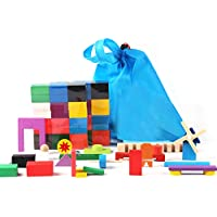 Hrihui ドミノ倒し ギミック 仕掛け 18種セット 12色 240個 カラフル おもちゃ 積み木 知育玩具 天然木製 こども 誕生日 プレゼント 並べる用道具付き 収納袋 セット …