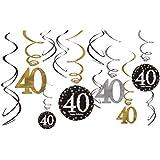 BESTOYARD 12本の40歳の誕生日パーティーデコレーションハッピーバースデー吊り天井の装飾