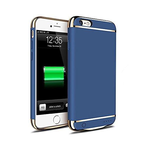 KYOKA iPhone6plus iPhone6s plus バッテリー内蔵ケース 3パーツ式 軽量 超薄 バッテリーケース 大容量 急速充電 ケース型バッテリー (iPhone6Plus/6sPlus, ブルー)