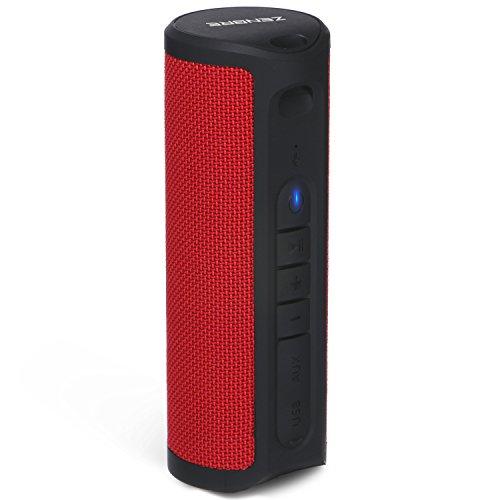 BluetoothスピーカーZENBRE Z4 TWS機能対応/高音質ポータブルBluetooth4.1ワイヤレススピーカー/5Wx2ドライバー/低音强化ステレオベース/20時間連続再生/Echo Dot対応/IPX4防水/マイクを搭載(レッド)