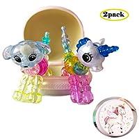 女の子 ビーズ キット アクセサリー 魔法のブレスレット ネックレス ペット カラフルビーズ DIYブレスレット ビーズ ブレスレットtwist pets, ブレスレット、ネックレス、またはかわいい動物の形にねじれて作ることができます。 知育玩具(2pack) (子犬 ユニコーン)