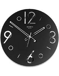 REXARTIS(レックスアルティス) ガラス製掛け時計「POINT」 (ブラック) モノトーン
