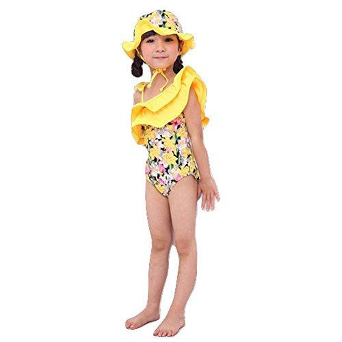 Spinas(スピナス)ベビーキッズ水着女の子おしゃれなデザインワンピース水着かわいい帽子付き90-120cm全4種(ピンクイエロードットスワン)