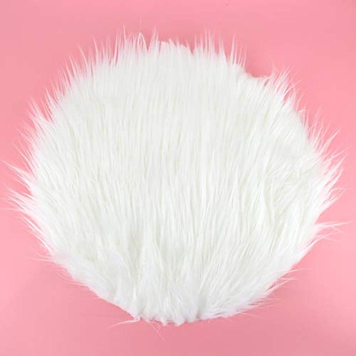 待って結核ペンラウンドぬいぐるみカーペット快適なシルクぬいぐるみノンスリップマットホームリビングルームの寝室の床の敷物純色家デコレータ30 cm-ホワイト45 CM