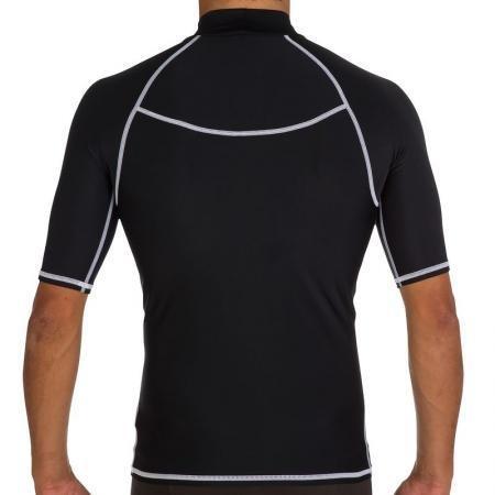 RainKind メンズ用水着ウエットスーツ 防水 速乾 UVカット 競泳水着 上着 メンズ 男性 短袖競泳水着 水泳(ブラック M)