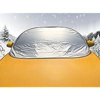 LykusSource車フロントガラスカバー 雪対策 凍結防止 日除け 愛車を雪・霜・落ち葉・鳥のフン・ホコリから守る 簡単取付5秒で折り畳める 収納袋付き (標準サイズ)