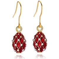 TF Charms Egg Charm Earrings with Swarovski Crystals Elements925 Sterling Silver Hooks (Red)
