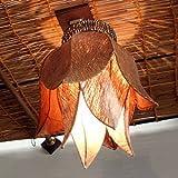 アジアンランプ:吊ってOK!直付けOK!なチューリップスタイルのランプ新登場!ブラウン&ナチュラル[オリジナル品]