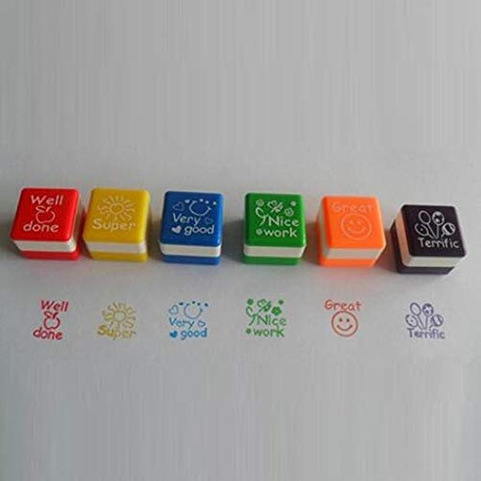 細分化するレンディション狂信者MagRing 6 Styles/SET Kawaii Cute Teachers Stampers Inking Praise Reward Stamps Motivation Sticker School Supplies Color:6 colors