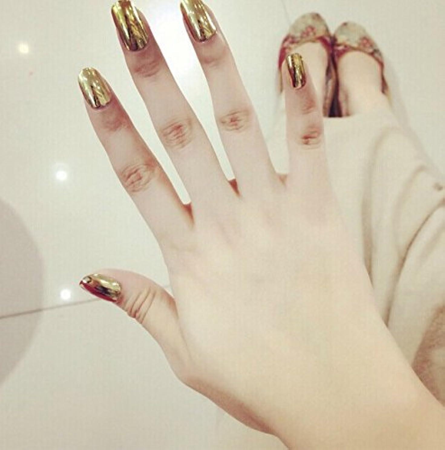 ポップでクールな印象!ピカピカメッキメタルカラーネイルチップ ショート型ネイル つけ爪 24枚組 (ゴールド)