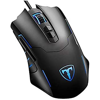 Qtuo マウス ゲーマーマウス ゲーミングマウス 光学式 LEDライト マウス 5段階DPI調整可能 7ボタンカスタマイズ マクロ設定可能 省電力 有線 ゲームマウス 軽量 ブラック 日本語説明書付き (黒)