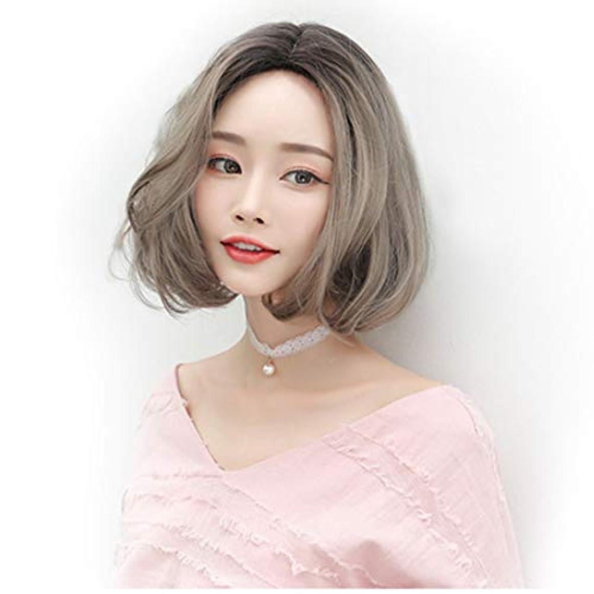 複数本会議ラメウィッグショートヘア女性用ふわふわウェーブのかかった髪かつら自然な耐熱合成ファッションウィッグショートカーリーコスプレ、グレーオレンジ,グレー