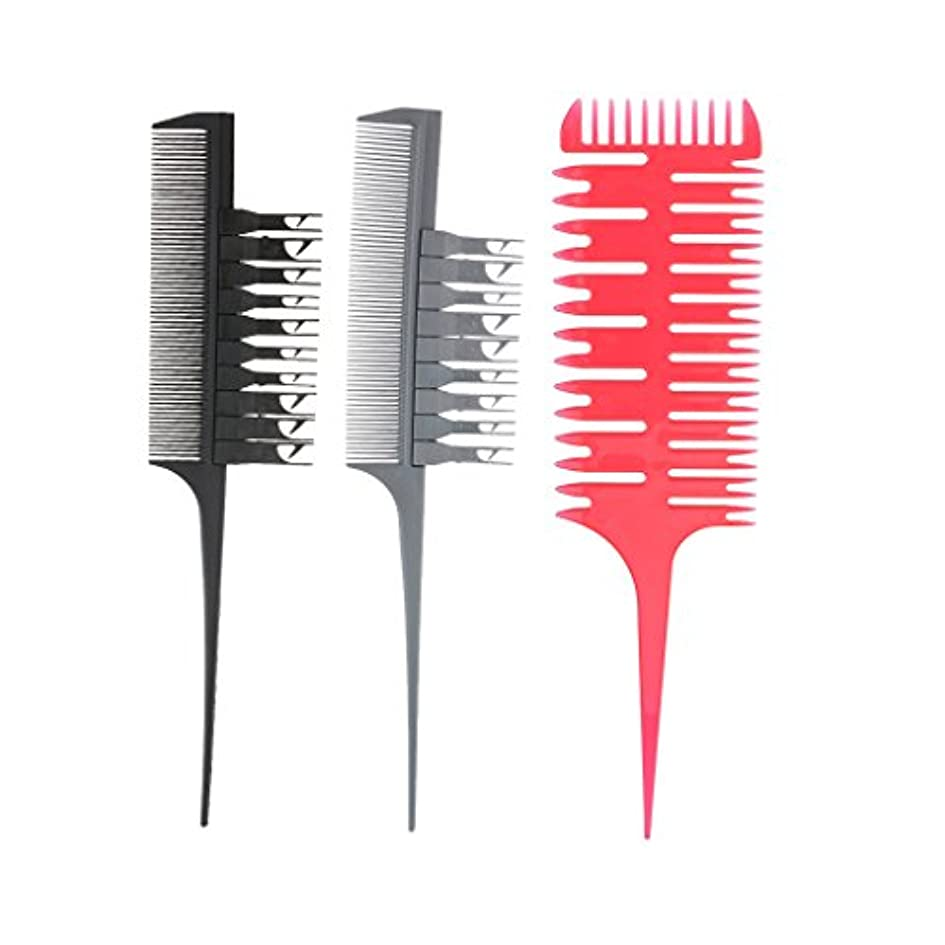 肺レガシー粘液3ピースプロフェッショナル理髪セクショニング織りハイライトカラーリングサロン染色バレヤージュヘアコームツールセット付き交換可能ピックアップフック