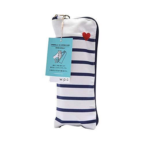ワールドパーティー(Wpc.) 雨傘 折りたたみ傘  オフホワイト 白  50cm  レディース ジッパーケースタイプ ハート刺繍ボーダー ミニ 302-126 OF