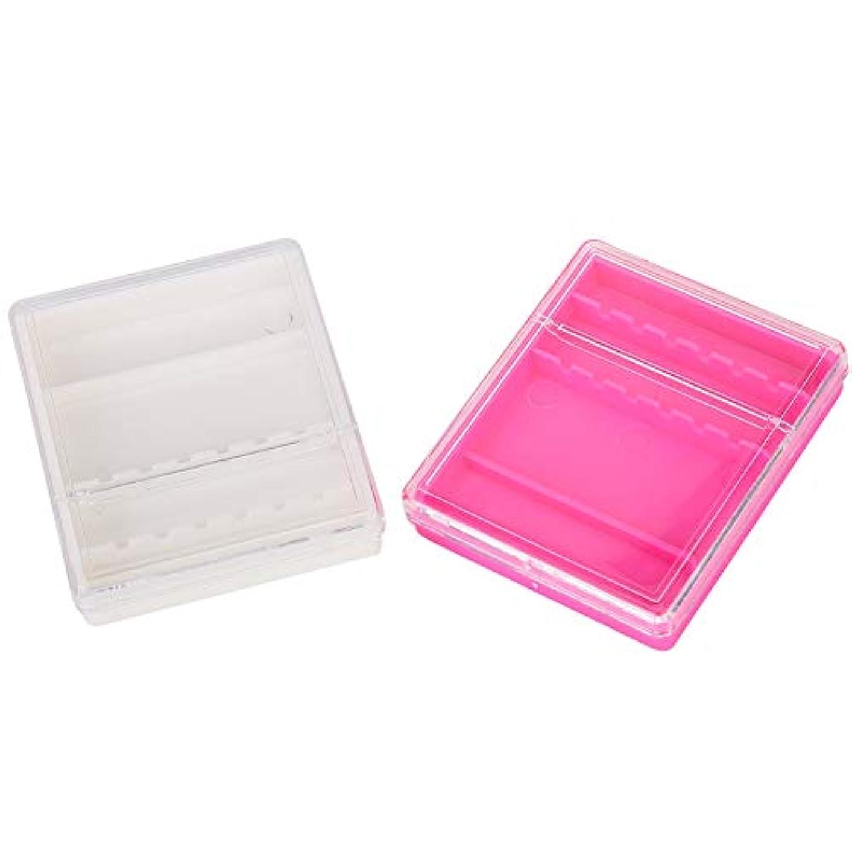 スープ分析繁雑2ピース実用的な透明ネイルドリルビットケースホルダーマニキュアツールオーガナイザーディスプレイスタンド - 6溝デザイン